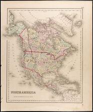Carte ancienne [1857,Colton] : Amérique du Nord. Antique Map of North America