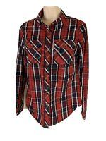 Cato Women's Size XS Red Blue White Plaid Button Down Shirt Long Sleeve EUC