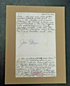 JSA Certified Jim Thorpe Signed Cut Autograph w/ Letter of Authenticity - A328