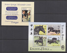 Tonga Sc 1244, 1245 MNH. 2014 Christening of Royal Baby + Year of the Horse s/s