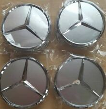 4x WHEEL CENTER HUB CAP SILVER CHROME MERCEDES BENZ ML S E C GL GLK AMG 75mm 3""