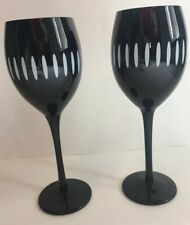 Pier One Imports Black And White Wine Goblets Set Of 2 (c)