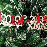 Fj- Cn _ 2019 Anno Nuovo Decorazione Porta Ciondolo Natale Ornamenti in Legno da