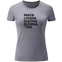 Mike & Lucas & Dustin & Eleven & Will Print Women Girls Casual T-Shirts Tops New