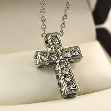 White Gold Plated Cross Pendant with Clear Crystals & Chain Necklace UK -114