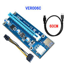 VER006C PCI-E Express 1x To 16x Extender Riser Card Adapter Power BTC Cable Hot