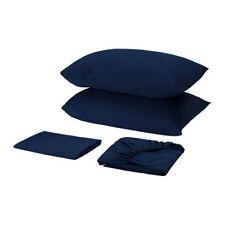 Ikea Skvattram Sheet set, dark blue, 100% cotton, 4 piece set, king *New*