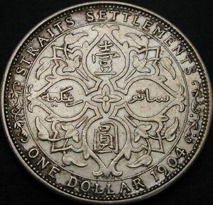STRAITS SETTLEMENTS 1 Dollar 1904 - Silver - VF - 1221 ¤