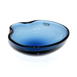 Seguso Vetri d'Arte - Flavio Poli - Crimped Edge Blue Glass Bowl - 1950s Murano