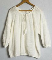 Indigo Gypsy Blouse Size 14 Broderie Anglais Tassel Tie Neck Relaxed Fit Boho