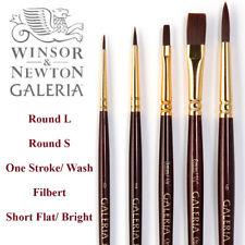 Winsor & Newton Artists GALERIA Flat Round Brushes Short Handle Acrylic Oil #GAL