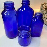 Antique Pharmaceutical Apothecary blue Bottles Jars Medicine Collectible #N1