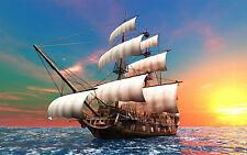 Incorniciato stampa-NAVE PIRATA che navigano nei mari alto (foto poster arte MARE SPIAGGIA