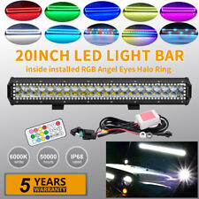 20inch 126W 4D Led Light Bar Combo Offroad Driving RGB Halo Chasing Color Change
