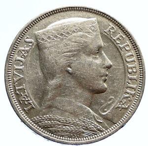 1931 LATVIA w Female Headwear 5 Lati LARGE Vintage Silver European Coin i96088