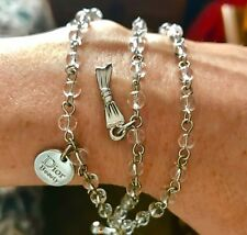 *Rare* Christian Dior Silvertone Metal Link Charm Bracelet W/toggle NEW 4 Charms