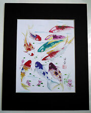 4x5 Nine Koi Fish 2 good luck Feng shui Art Asian - Chinese Brush Painting
