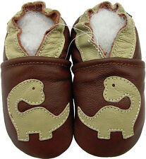 carozoo dinosaur brown 5-6y soft sole leather kid shoes