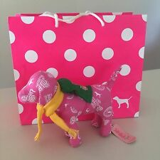 VICTORIA'S SECRET PINK-COLLECTIBLE Plush Dog with Scarf-Back bag New, Exquisite!