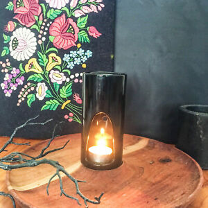 NEW Black Aromatherapy Ceramic Essential Oil / Tealight Holder Wax Melt  Burner