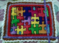 Handmade Puzzle pattern Crochet Edge Fleece Preemie Baby Blanket Reborn Doll NEW