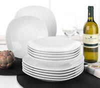 12-tlg Tafelservice Tafelgeschirr Geschirrset Eckig 6 Personen Porzellan Weiß