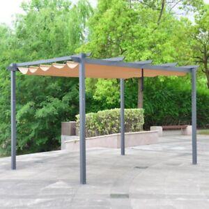 ALEKO DIY Aluminum Outdoor Retractable Gazebo Canopy Pergola 13 x 10 ft Sand