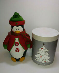 Lot of 2 Christmas gift boxes silver w/ tree + Penguin 3 tier stacking tower