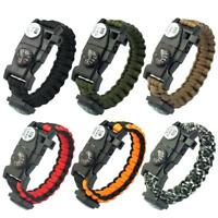 Outdoor Paracord Survival Bracelet Gear Kit w/ Whistle Compass Thermometer Light