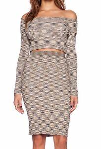 Free People Mutual Feeling Space Dye Camel-Multi 2pc Stretch Knit Skirt Set $168