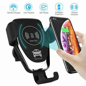 Qi Wireless Charger Car Phone Mount Holder Bracket For iPhone 8 XS XR 11 12 Pro