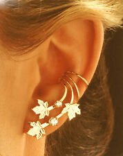 BEAUTIFUL GOLD VERMEIL 3  MAPLE LEAVES  2  CZ  EAR CUFF  EARRINGS  NIB #EC27