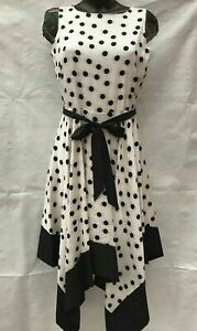 Ex Roman Hanky Hem Fit and Flare Spot Dress Black White Cream Print dress