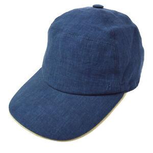 HERMES H Logos Hat Cap Headwear Blue #58 Linen Authentic TG01735p