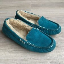 Ugg Womens Ansley Teal Slippers Sheepskin Suede Moccasins Size 7