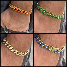 "Men's 14K Gold Plated Miami Cuban Bracelet 8"" in (Orange, Green, Blue or White)"