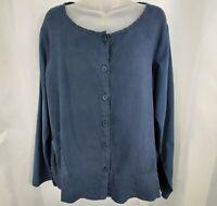 Women's FLAX Blue Button Down Top Size Medium