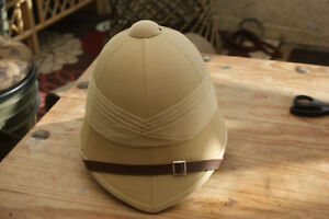 BRITISH ARMY KHAKI BUSH TROPICAL HAT EXPLORERS CLOTH COVERED PITH SAFARI HELMET