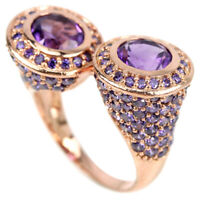 NATURAL AAA PURPLE AMETHYST ROUND & CZ STERLING 925 SILVER RING SIZE 10