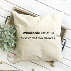 12x12 Wholesale Blank 10 oz. Cotton Canvas Throw Pillow Cover - Lot of 10 Blanks
