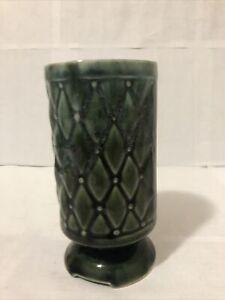 Vintage Antique Decorative Green Pottery Planter Vase Chalice