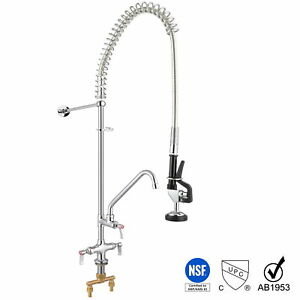"""Commercial Pre-Rinse Faucet Pull Out Down Sink Kitchen with Sprayer 12"""" Add-On"""