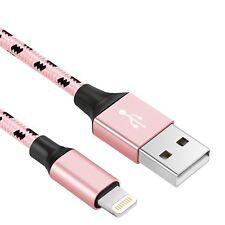 2m schnell Ladekabel 2A für original iPhone 5 / 6 / 7 / 8 /  iPad Nylon NEU rose