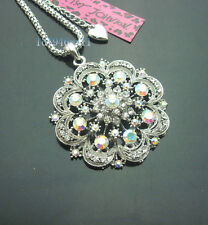 R532S  Betsey Johnson  Crystal Silvery  Large Hollow Flower Pendant Necklaces
