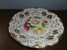 Lefton China Plate KF266 Ornate Hand Painted Floral Spray Pierced Cut Gold Gilt