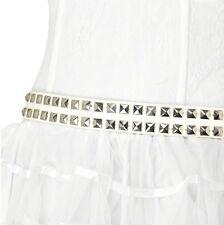 AÑOS 70 AÑOS 80 Años 80 Smiffys Damas Punk Disfraz Cinturón Con Tuercas blanco