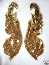 APPLIQUES GOLD MIRROR PAIR SEQUIN BEADED SEWING CRAFT SUPPLIES (0033)