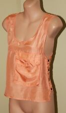 Womens Orange Sheer Silk Top -  Shakuhachi - Size 6