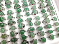 wholesale lots mixed 50pcs jade natural stone vogue lady's jewelry silver rings