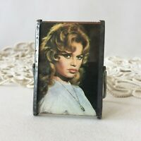 Vintage Brigitte Bardot Small Standing Hinged Mirror Metal Frame
